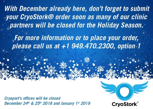 Holiday Reminder for Your IVF Shipments