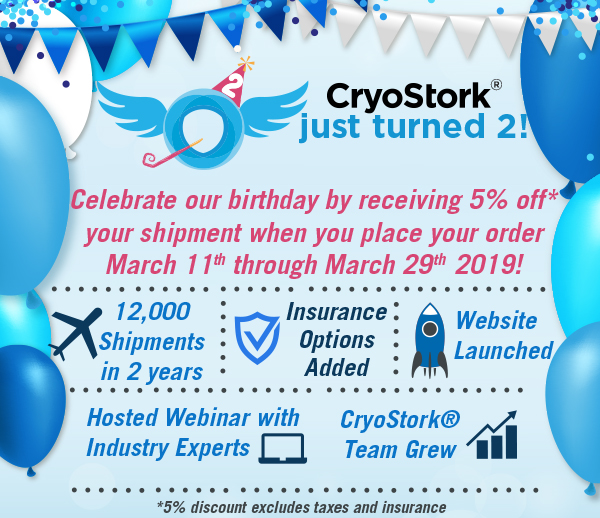 CryoStork® Turns 2! Celebrate Our Birthday By Receiving 5% Off* Your Shipment!